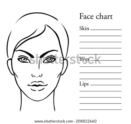 royalty free face chart makeup artist blank 487304581 stock photo