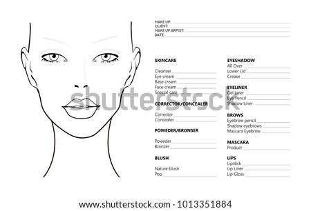 face chart makeup artist blank