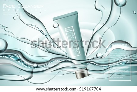 face cleanser ads  blue plastic