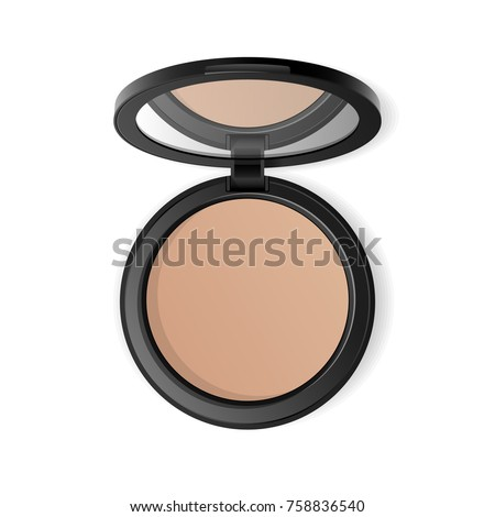 Face compact makeup powder. Vector realistic cosmetic powder in the black round plastic case with mirror. Isolated on white background. Top view.