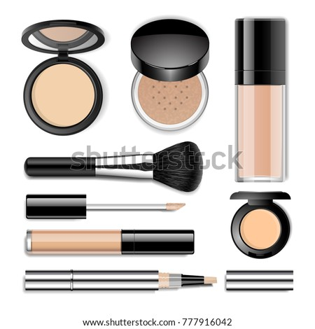 Face cosmetics vector realistic set. Face compact and loose powder in black plastic case, foundation bottle, concealer tube, big make up brush.