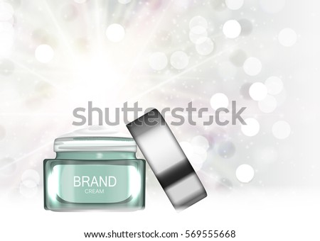 Face Cream Bottle Tube Template for Ads or Magazine Background. 3D Realistic Vector Iillustration. EPS10 #569555668