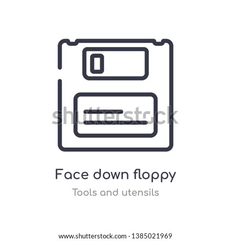 face down floppy disk outline icon. isolated line vector illustration from tools and utensils collection. editable thin stroke face down floppy disk icon on white background