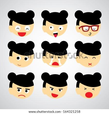 face emotion vector cartoon style