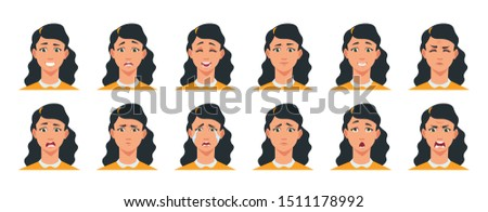 Face expression. Cartoon girl character with sad happy angry surprised emotion. Vector illustration beautiful woman avatar constructor with facial expressing joy scared cheerful