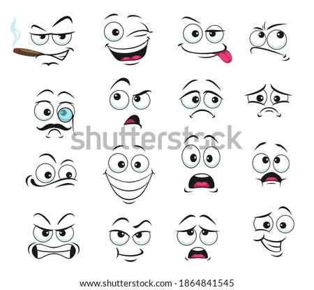 Face expression isolated vector icons, funny cartoon emoji smoking cigar, wink and sad, smiling, confused and wear monocle eyeglass with mustache. Cheerful, angry and show tongue face expressions set