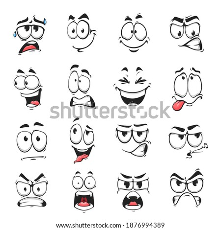 Face expression isolated vector icons, funny cartoon emoji sweating, whistle and yelling, angry, happy or laughing or sad. Facial feelings, emoticons grit teeth, show tongue. Cute face expressions set Foto d'archivio ©