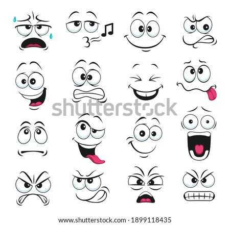 Face expression isolated vector icons, funny cartoon emoji whistle, yelling and sweating, gnash teeth, angry, laughing and sad. Facial feelings, emoticons upset, happy and show tongue cute faces set