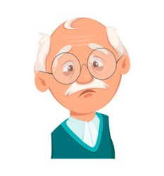 Face expression of grandfather, sad. Emotion of old man. Vector illustration on white background