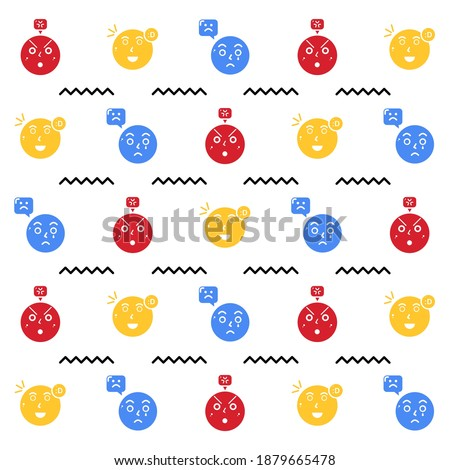 Face expression pattern design. Easy to edit with vector file. Can use for your background and illustration. Especially for express your feeling. Foto d'archivio ©