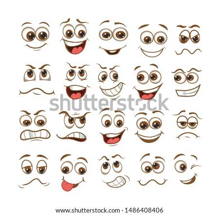 face expression set. vector illustration emoticon cartoon