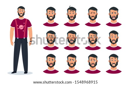 Face expressions. Cartoon man character with set of different emotions angry, pain, sad, happy, surprised guy. Vector expressing constructor avatar faces animation men image