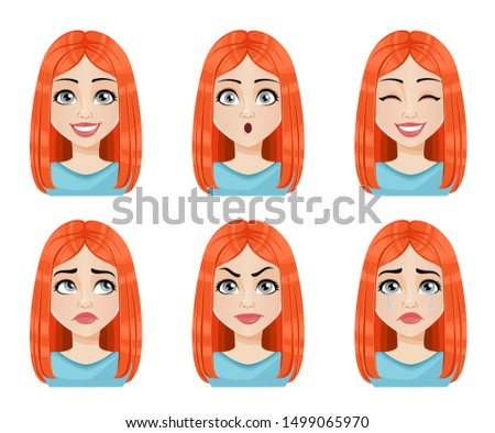 Face expressions of beautiful redhead woman. Different female emotions set. Cute lady cartoon character. Vector illustration isolated on white background.
