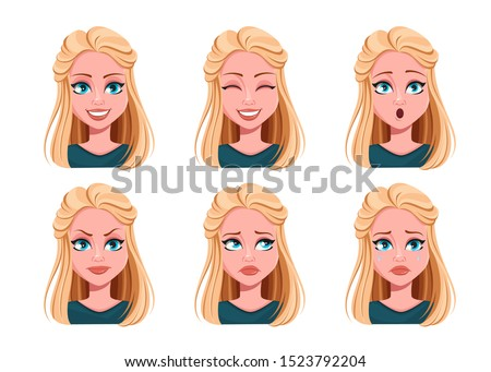 Face expressions of beautiful woman. Different female emotions set. Cute lady cartoon character. Vector illustration isolated on white background.