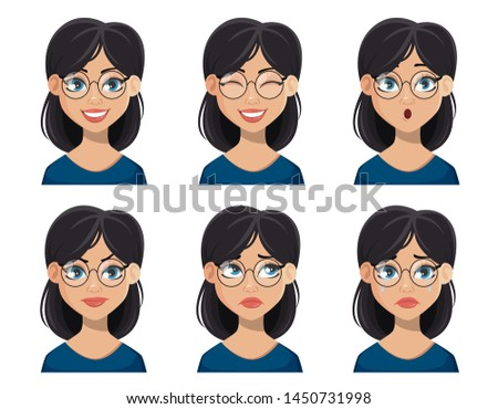 Face expressions of beautiful woman in glasses. Set of different female emotions. Pretty cartoon character. Vector illustration isolated on white background.