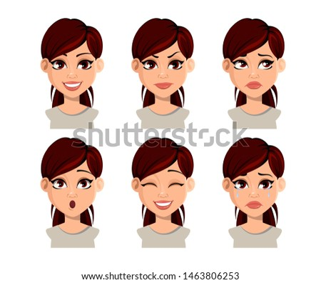 Face expressions of beautiful woman with brown hair. Set of various female emotions. Cartoon character, avatar. Vector illustration isolated on white background.