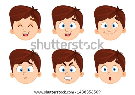 Face expressions of cute boy. Set of six emotions of a child. Vector illustration on white background