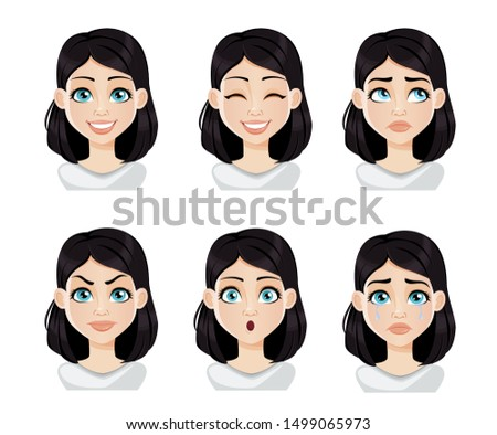 Face expressions of woman with dark hair. Different female emotions set. Beautiful cartoon character. Vector illustration isolated on white background.