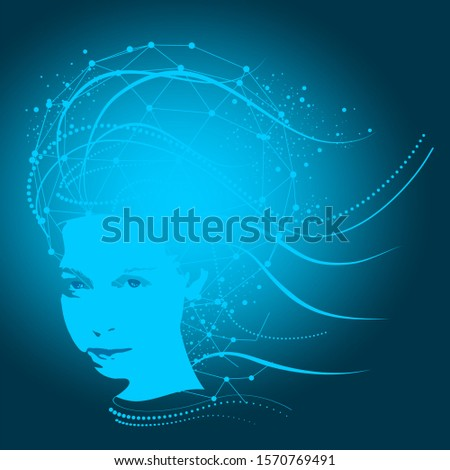 Face front view. Elegant silhouette of a female head. Portrait of a woman with decorative elements. Connected lines with dots.