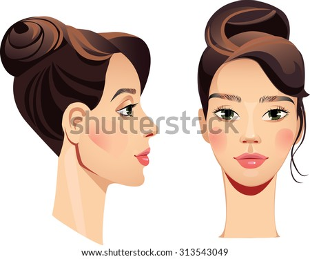 face girl in straight and