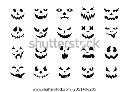 Face Halloween icon set. Black creepy smile, smiling mask, pumpkin grin. Cute and funny muzzle. Scary spooky devils eyes and smile, variety mouth and nose. Isolated vector illustration silhouette Stock photo ©