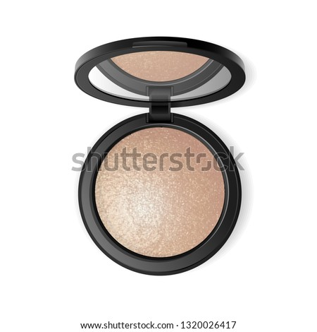 Face highlighter compact makeup powder. Vector realistic cosmetic glow baked powder in the black round plastic case with mirror. Isolated on white background. Top view.