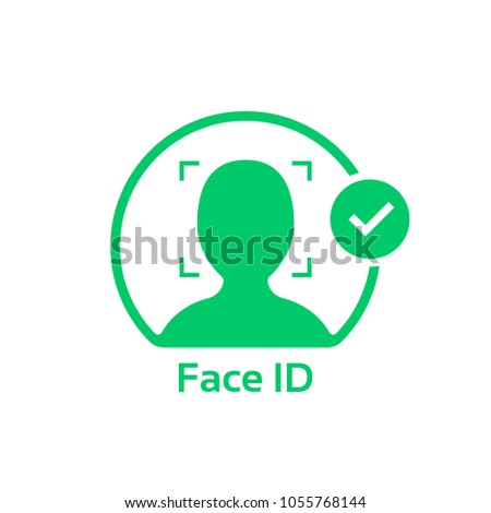 face id approved green logo. simple flat trend modern faceid logotype graphic design isolated on white. concept of gaining access to smart phone or personal information and facial recognition program
