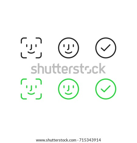 Face id icons.  Face scanning process icons. Facial recognition system signs. Facial detection symbols. Vector illustration on white background
