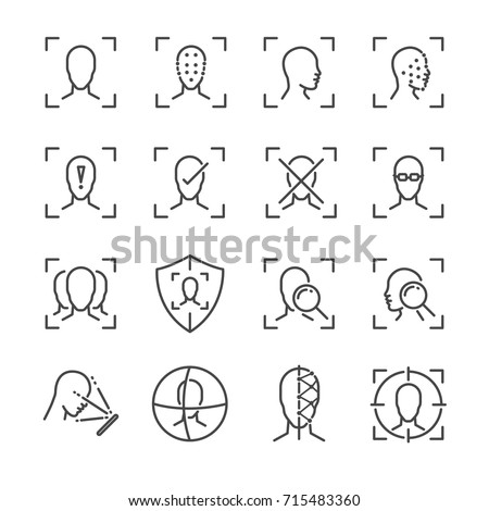 Face ID line icon set. Included the icons as face, recognition, facial, unlock, detect, scan and more.