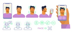 Face ID. Recognition system. Biometric identification. Face scanner. Smartphone in hand. Face reflection on the screen. modern male character. Set of vector illustration, trendy style, white isolated