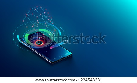 Face id technology - abstract concept. 3d scan face and recognition person user. smartphone identifies human and verification access right to personal information and confidential data.