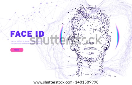 Face id technology. Trendy Innovations cyborg systems.  Innovations systems identifications and development computers software industry. Poligon personal encryption protection.