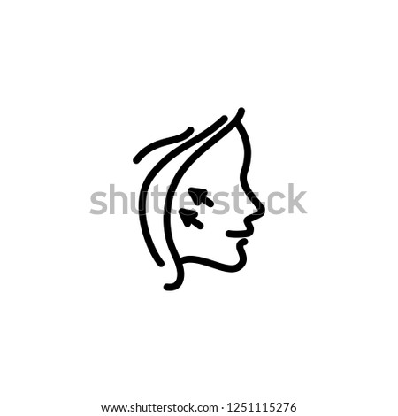 Face lifting line icon. Arrow, wrinkles, rejuvenation. Cosmetology concept. Vector illustration can be used for topics like anti-aging, plastic surgery, beauty treatment