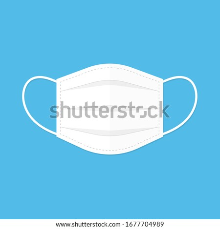 Face mask, Dentist, flat icon design, illustration, isolated on blue background - Vector