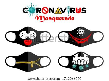 Face mask design. Print design concept on reusable face protection masks. Entertainment during coronavirus quarantine. Funny cartoon faces - smile, skull, zipper. Illustration, vector