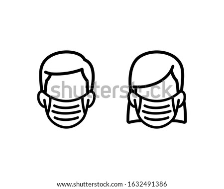 face mask, flu mask icon man and woman