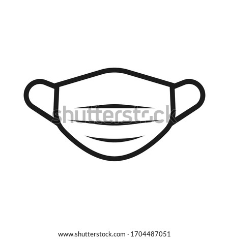Face mask isolated flat vector illustration. Protected medical wear icon. Virus disposable filter image.
