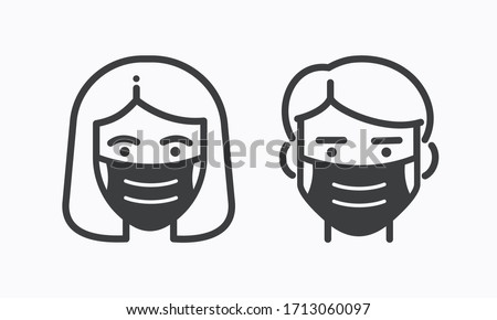Face mask use. Vector flat icons of people man and woman in protection respirators Foto d'archivio ©