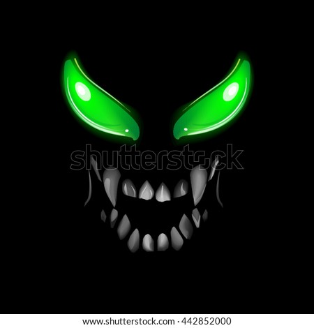 face monsters with glowing eyes