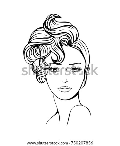 Face Of A Beautiful Young Woman With Curly Hair Women Hairstyle