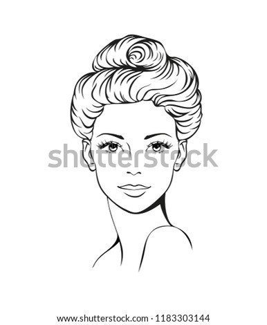 Face of a beautiful young woman with modern hairstyle. Vector art. Logo women face with fashionable hairstyle. Vector Illustration