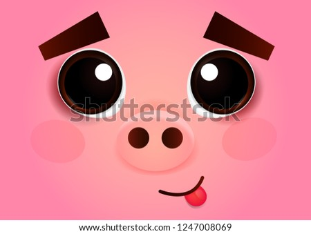 face of a cute pig with big