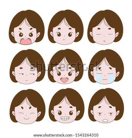 face of a little girl with different expressions of feelings