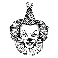 Face of a terrible clown in a cap. Vector illustration isolated on white background.