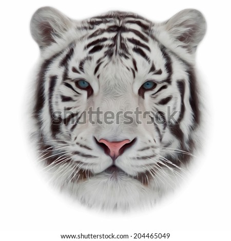 Face of a white bengal tiger isolated on white background Mask of the biggest cat of the world Wild beauty of the most dangerous and mighty beast Amazing vector image in oil painting style