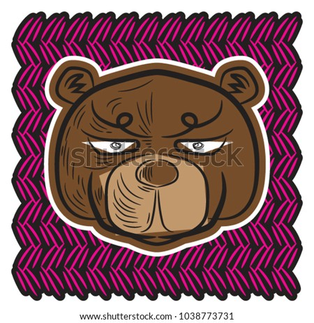 face of brown bear on pink
