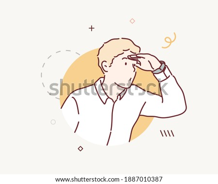 Face of funny male searching something isolated on white. Curious guy looking through circle shape. Hand drawn style vector design illustrations.
