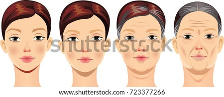 face of woman at different ages