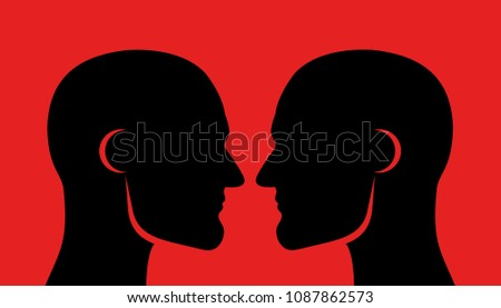 Face off (face-off), rivalry and competition between two men. Masculine males with muscular jawline and looking into faces - close physical contact, challenge to rival and competitor Foto stock ©