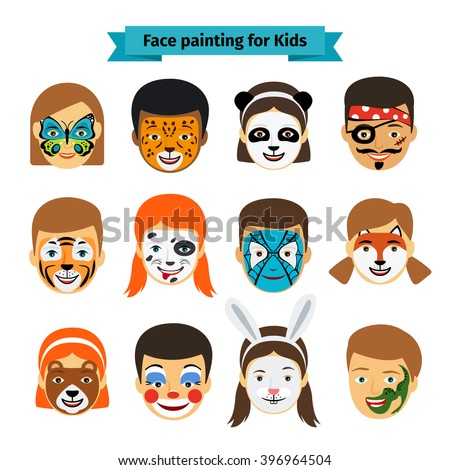 face painting icons kids faces